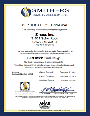 Zircoa's quality systems are certified to ISO 9001:2015